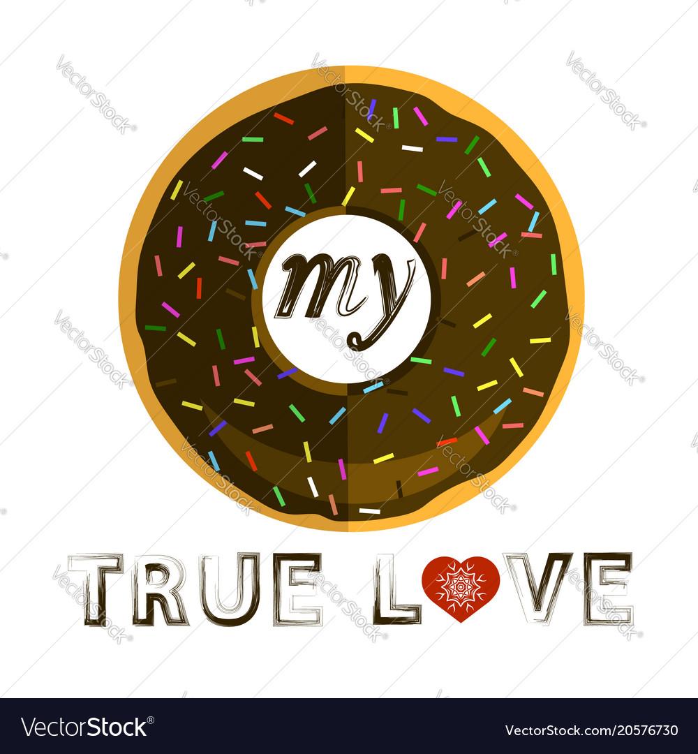 Sweet glaze chocolate donut fast food icon flat