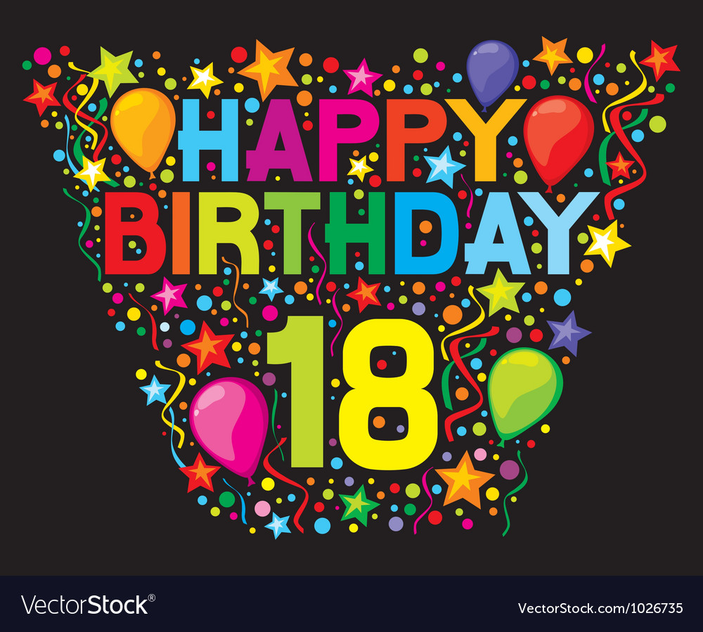 18th Birthday Card Royalty Free Vector Image