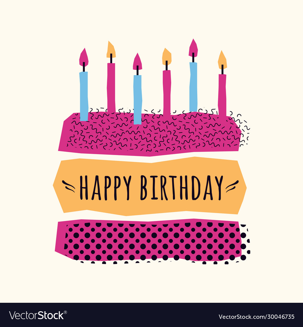 Cute happy birthday card with cake candles and