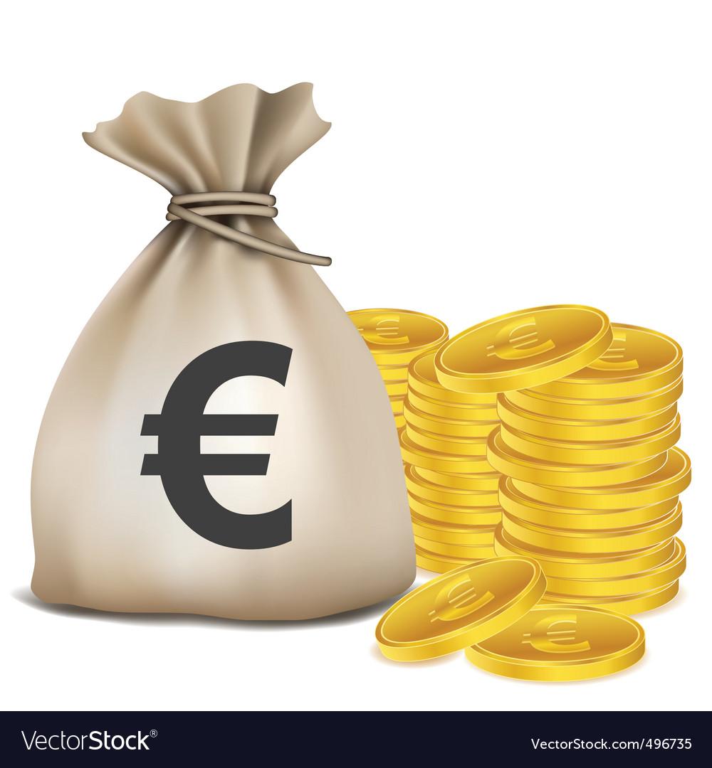 Euro Bag Coins Vector Image