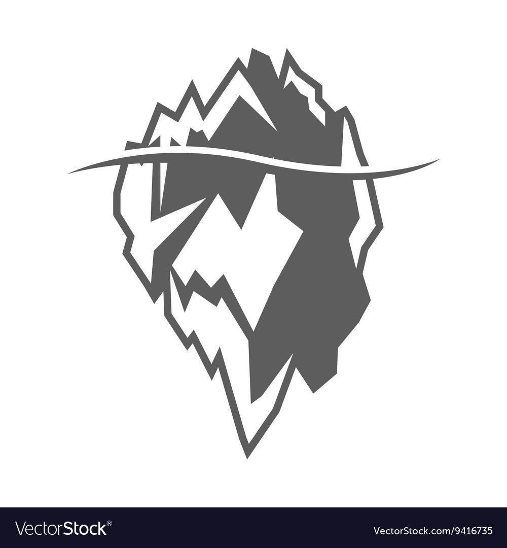 Grey iceberg icon on white background