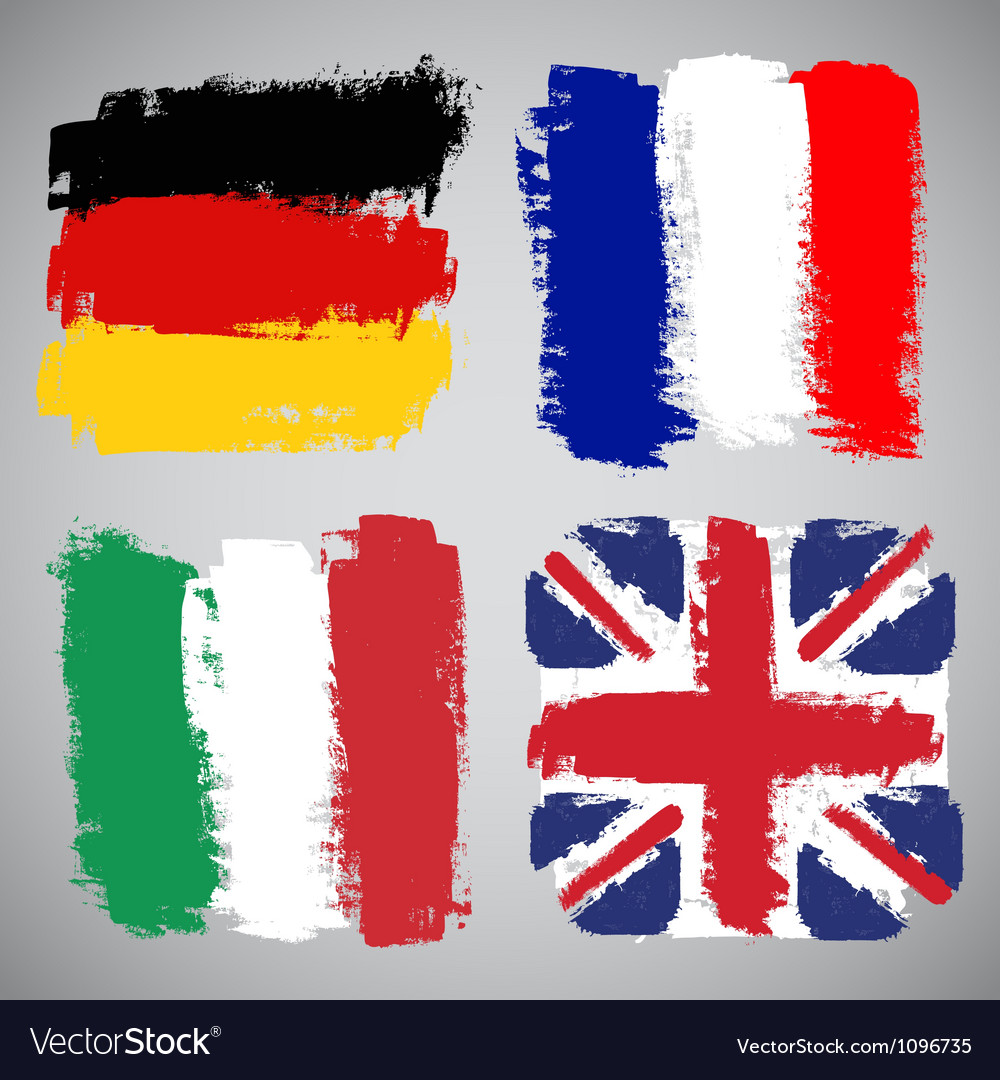 Grunge European flags set
