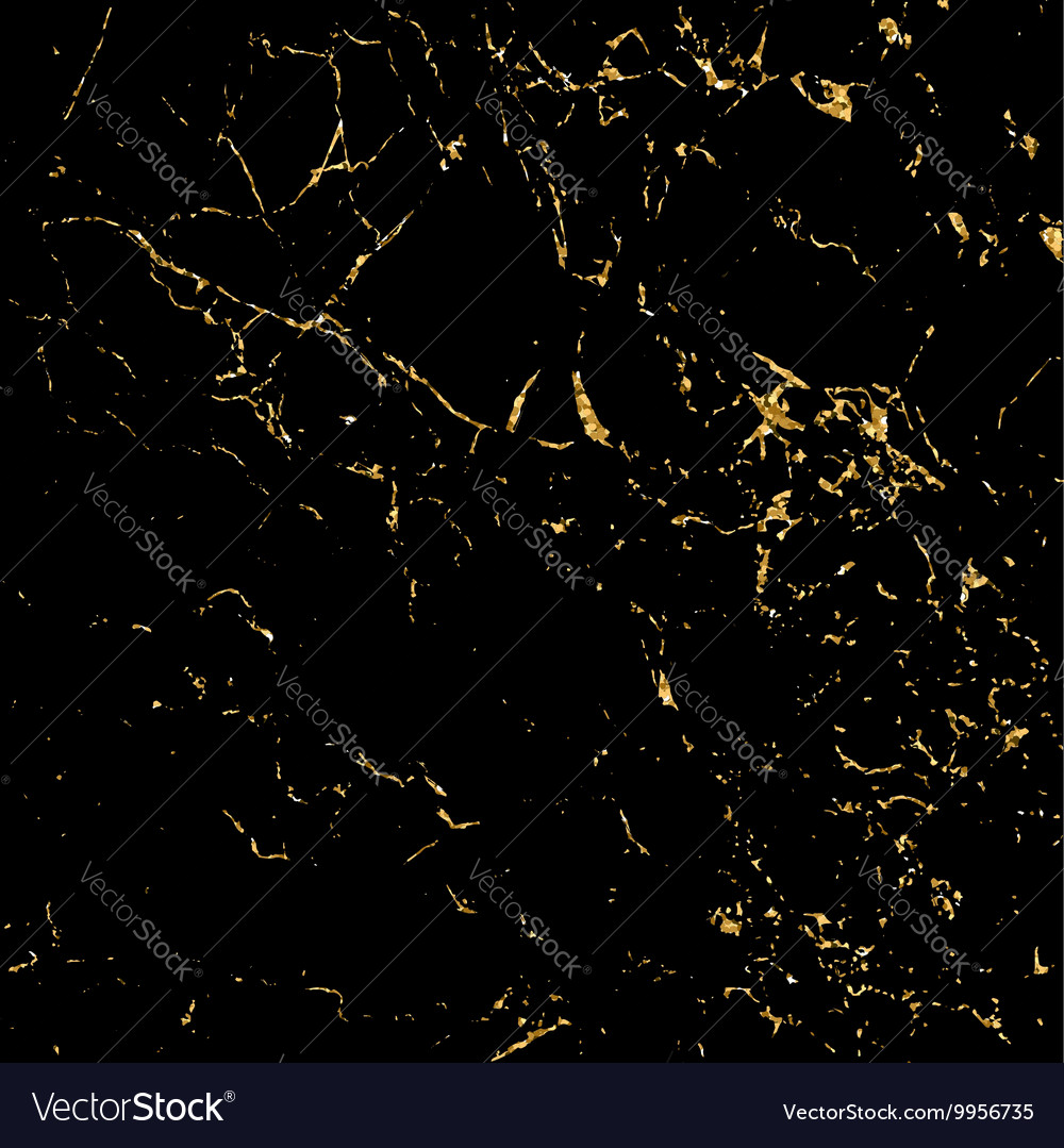 Grunge marble texture black gold vector image