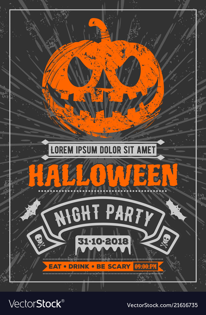 halloween party poster invitation banner vector image rh vectorstock com halloween party poster psd halloween party poster design