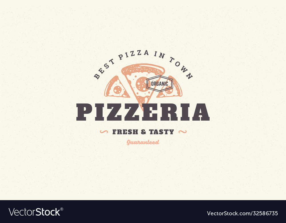 Hand drawn logo pizza slice silhouette and modern