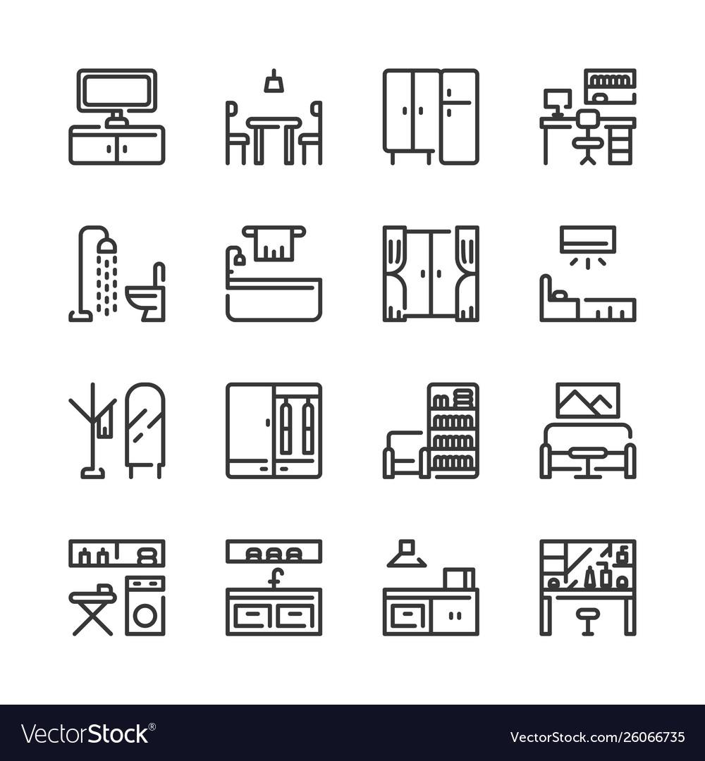 Interior and furniture icon set