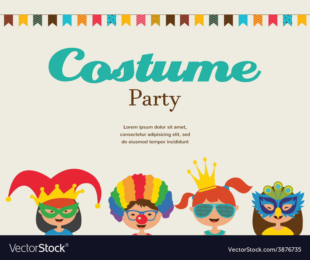 Invitation for costume party kids wearing vector image stopboris Images