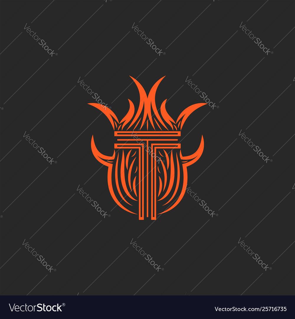 Monogram letter t logo in flames fire heraldic
