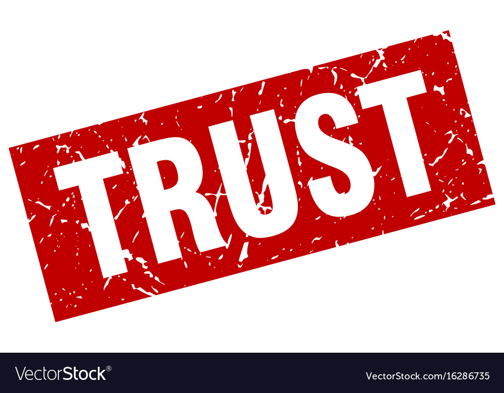 Square grunge red trust stamp vector image