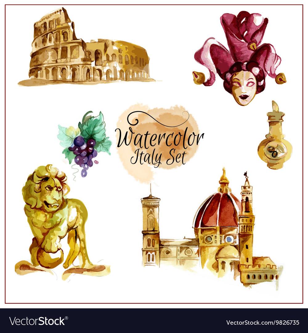 Watercolor Italy Set vector image