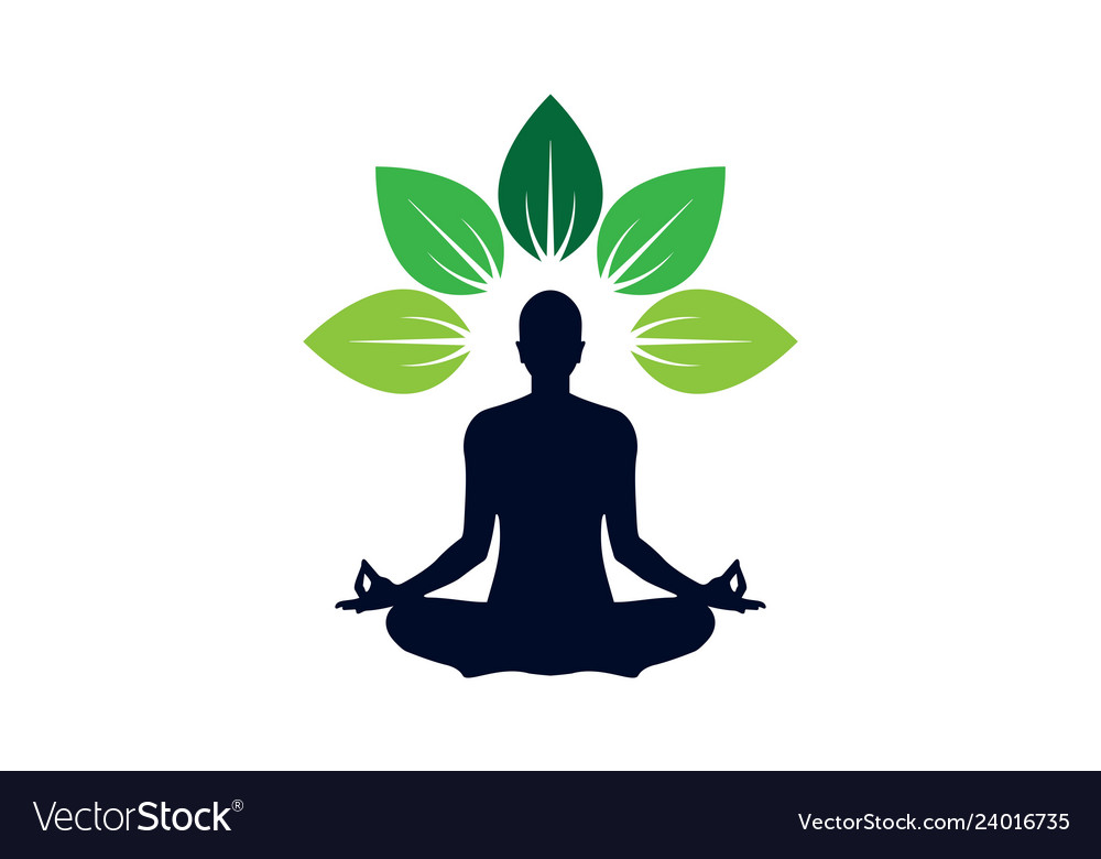 Yoga Meditation Logo Icon Concept Royalty Free Vector Image