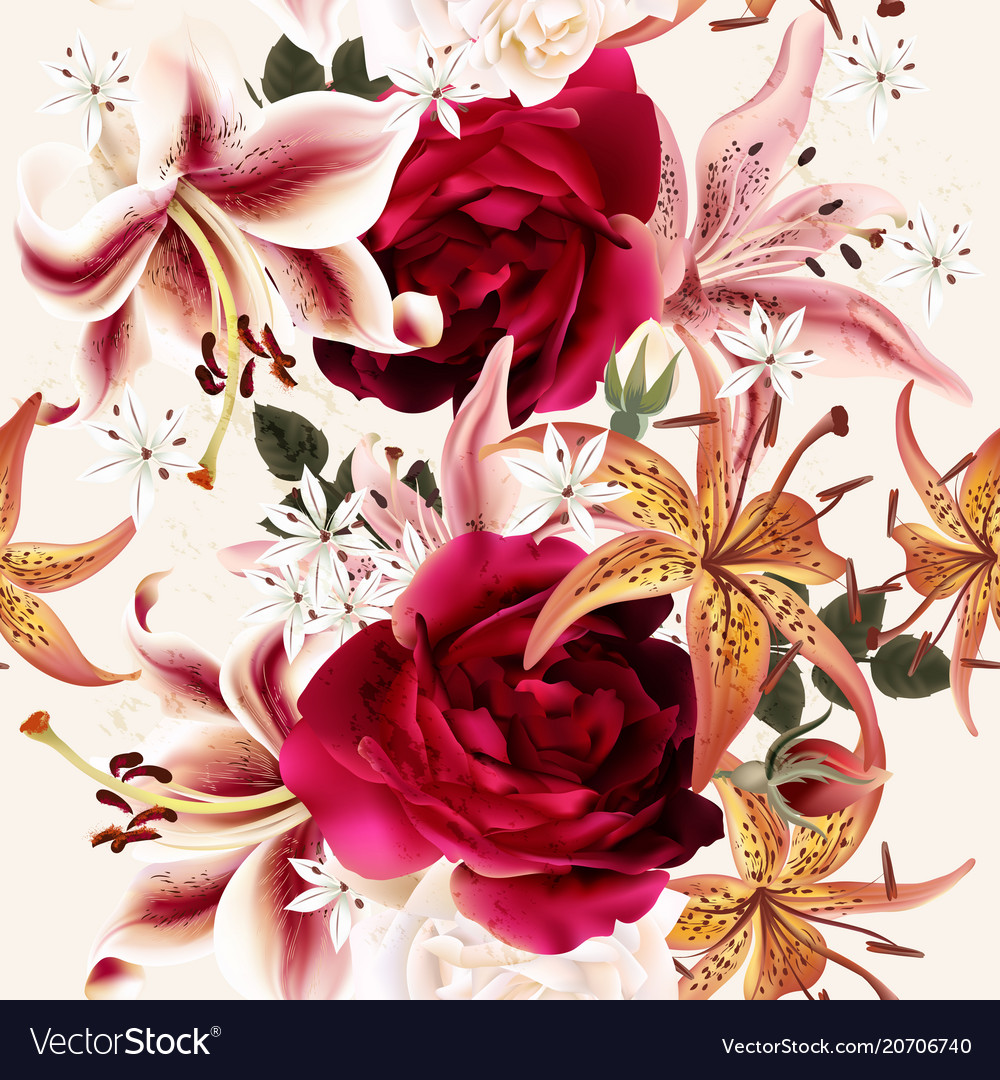 Beautiful seamless floral pattern with roses