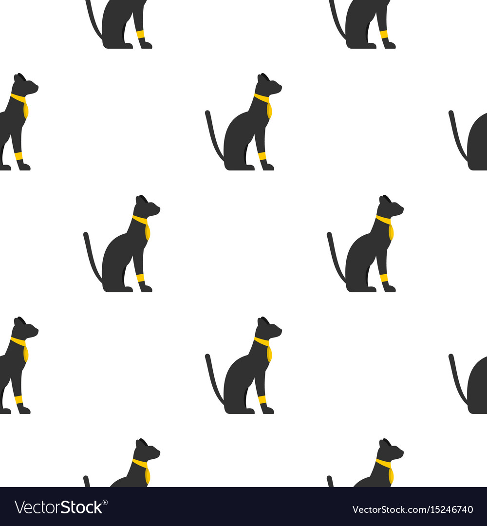 Black sitting egyptian cat pattern seamless vector image