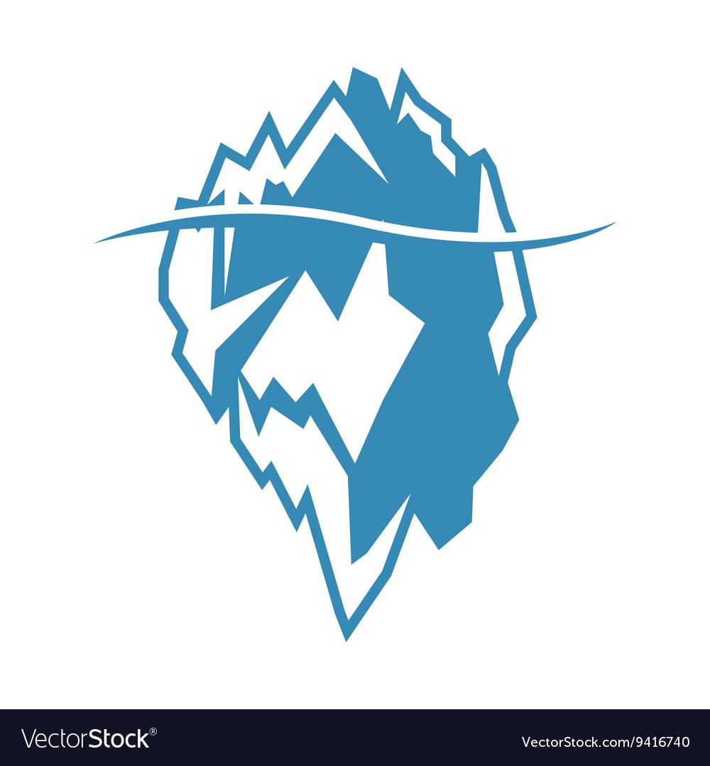 Blue iceberg icon on white background