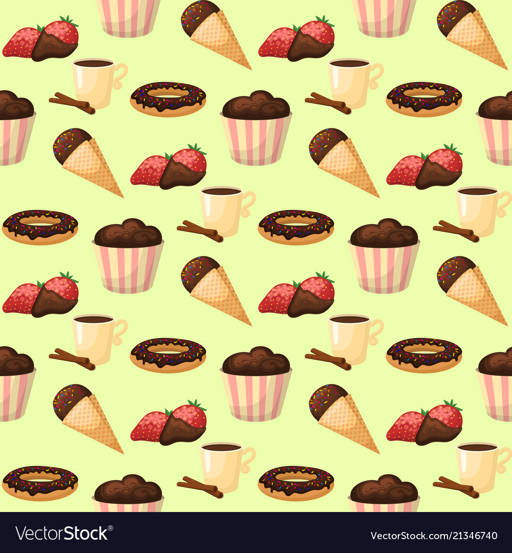 Chocolate various tasty sweets seamless pattern