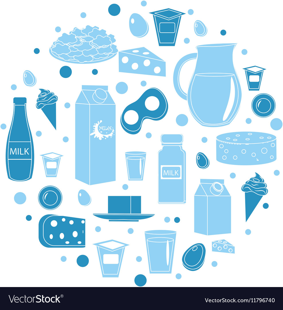 Dairy products icon set in round shape Flat style