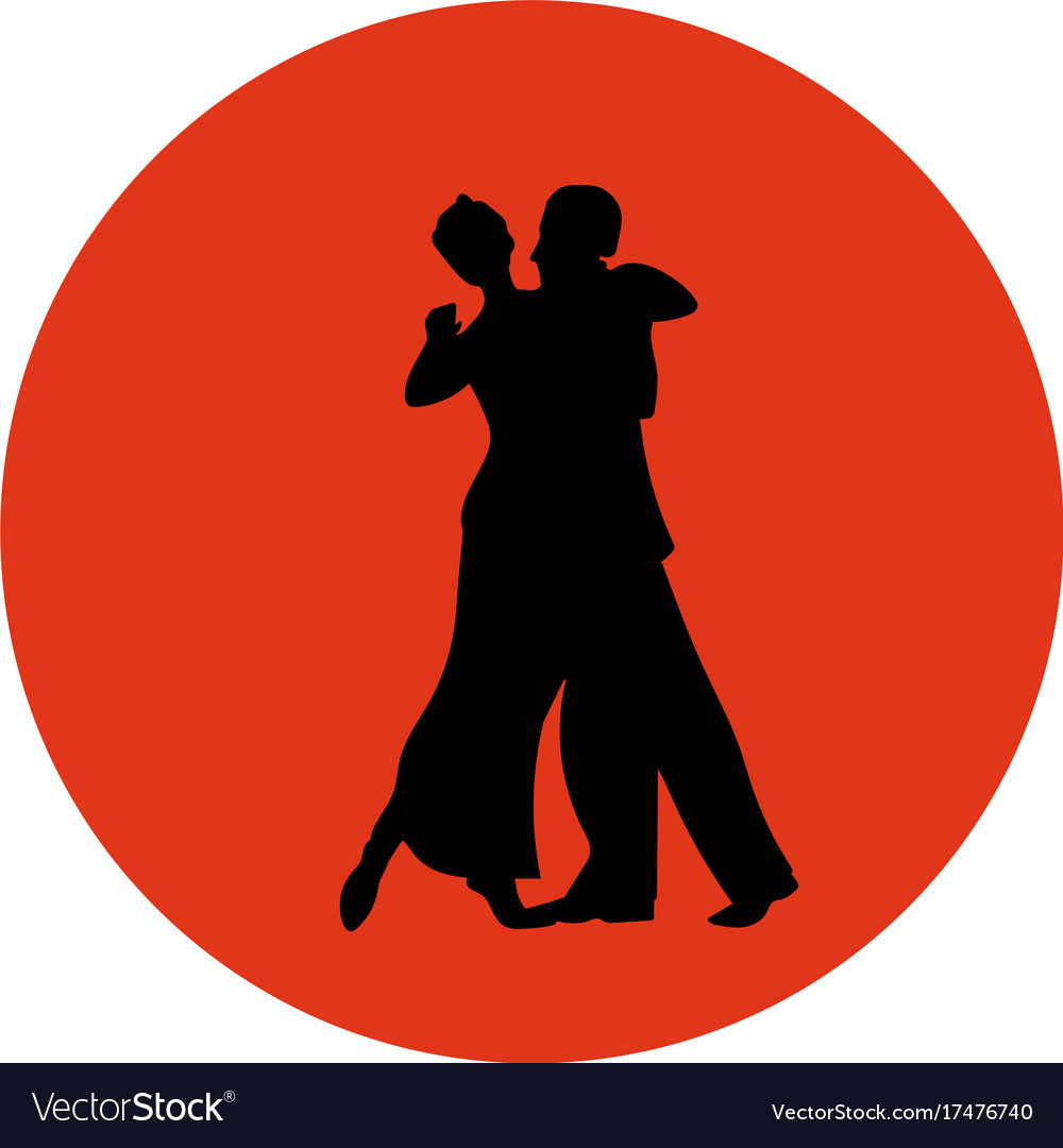 Dance pair in tango passion black silhouettes
