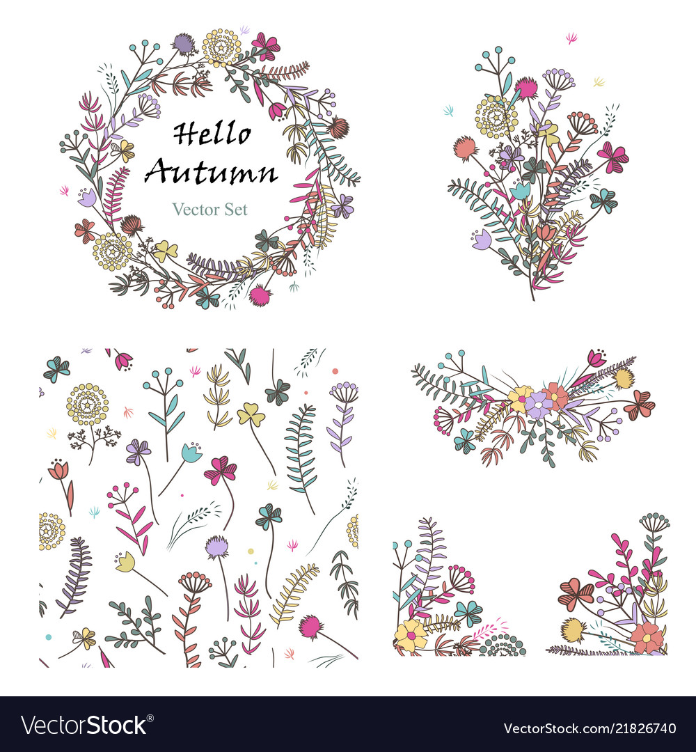 Doodle set with floral design elements and