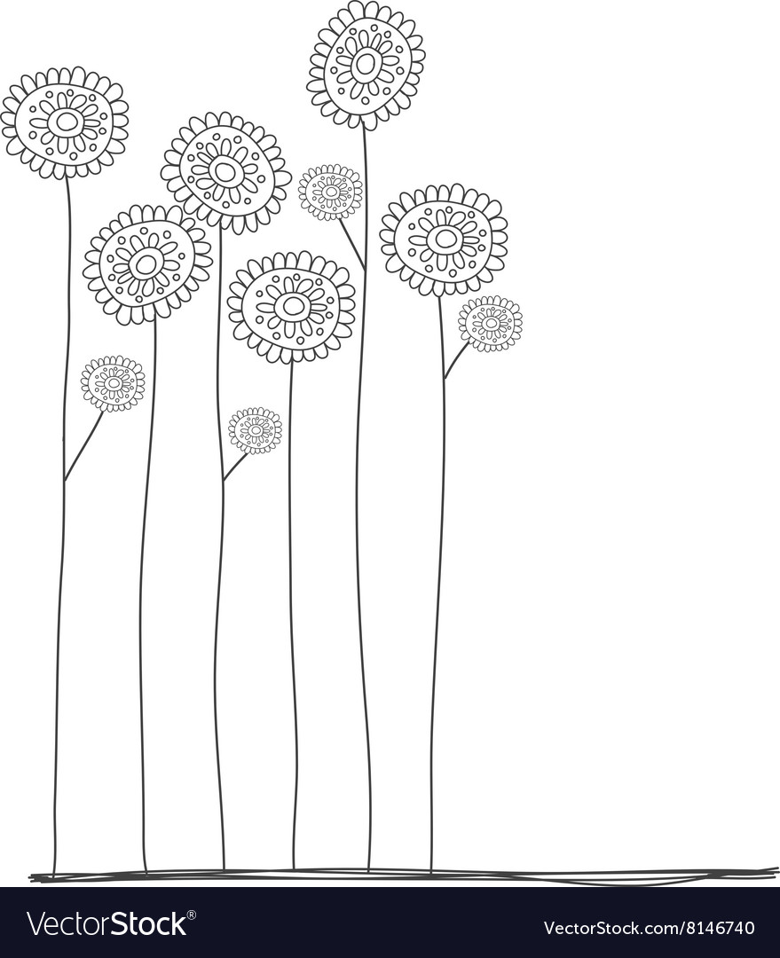 Flowers doodle hand drawn