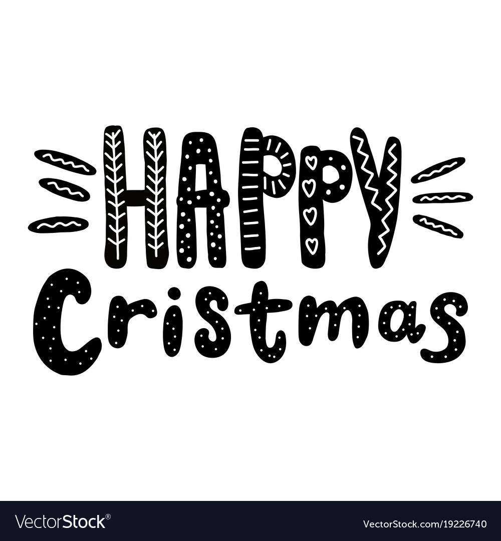 Happy christmas text hand drawn design for
