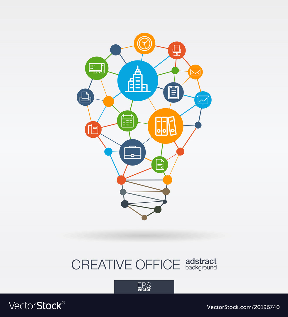 Office work integrated thin line icons digital