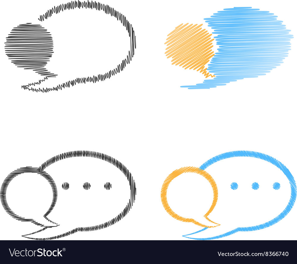 Set of blank speech bubbles blue orange and black vector image