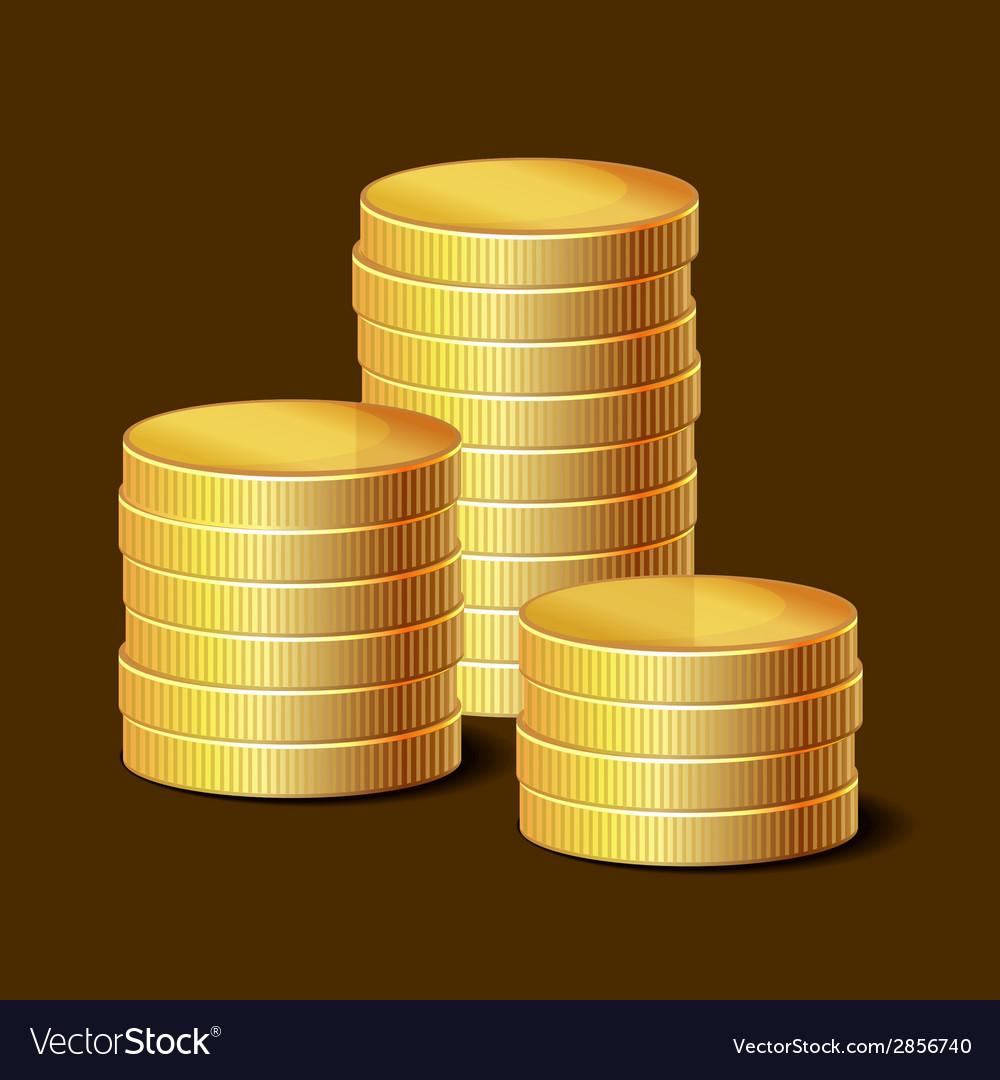 Stacks of Golden Coins on Dark Background