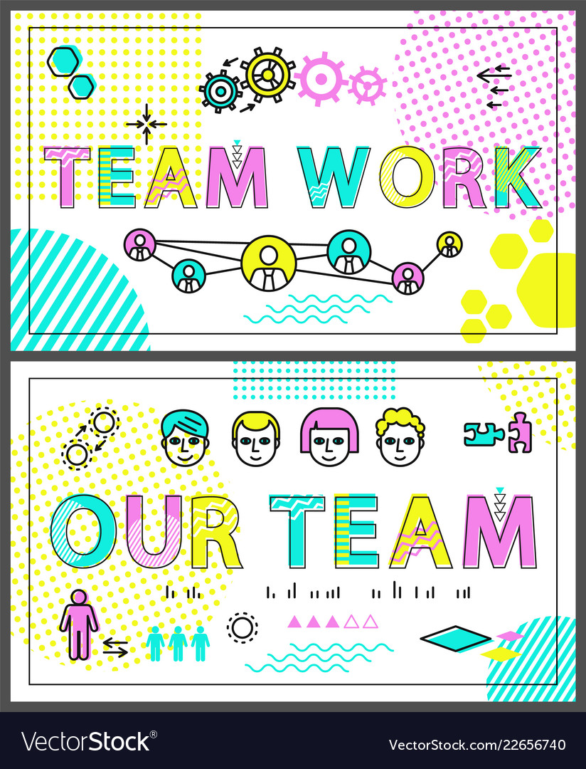 Teamwork colorful promo banners linear templates