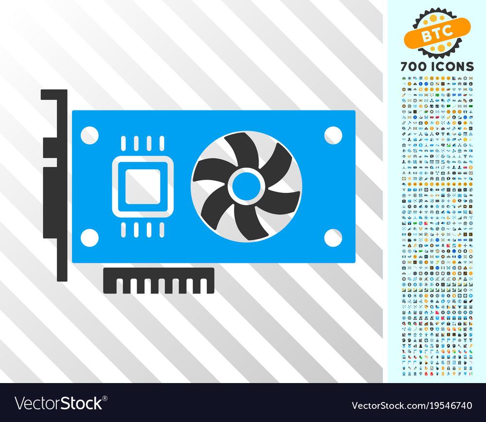 Video accelerator card flat icon with bonus