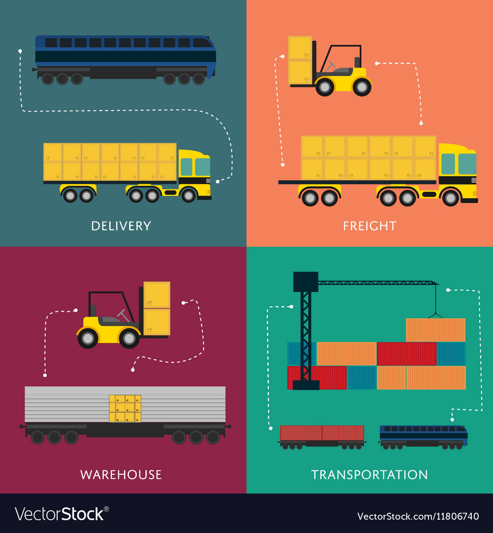 Warehouse and freight transportation banner set vector image