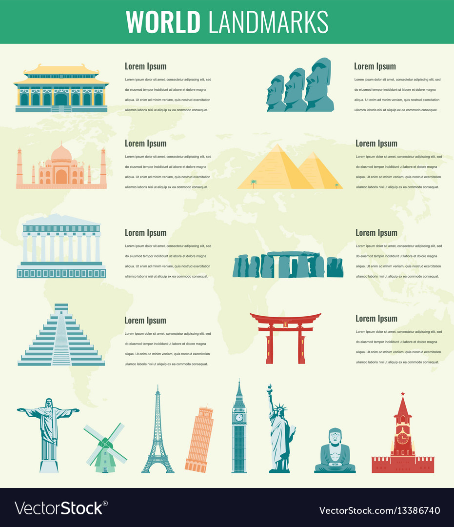 World landmarks infographics set travel and vector image