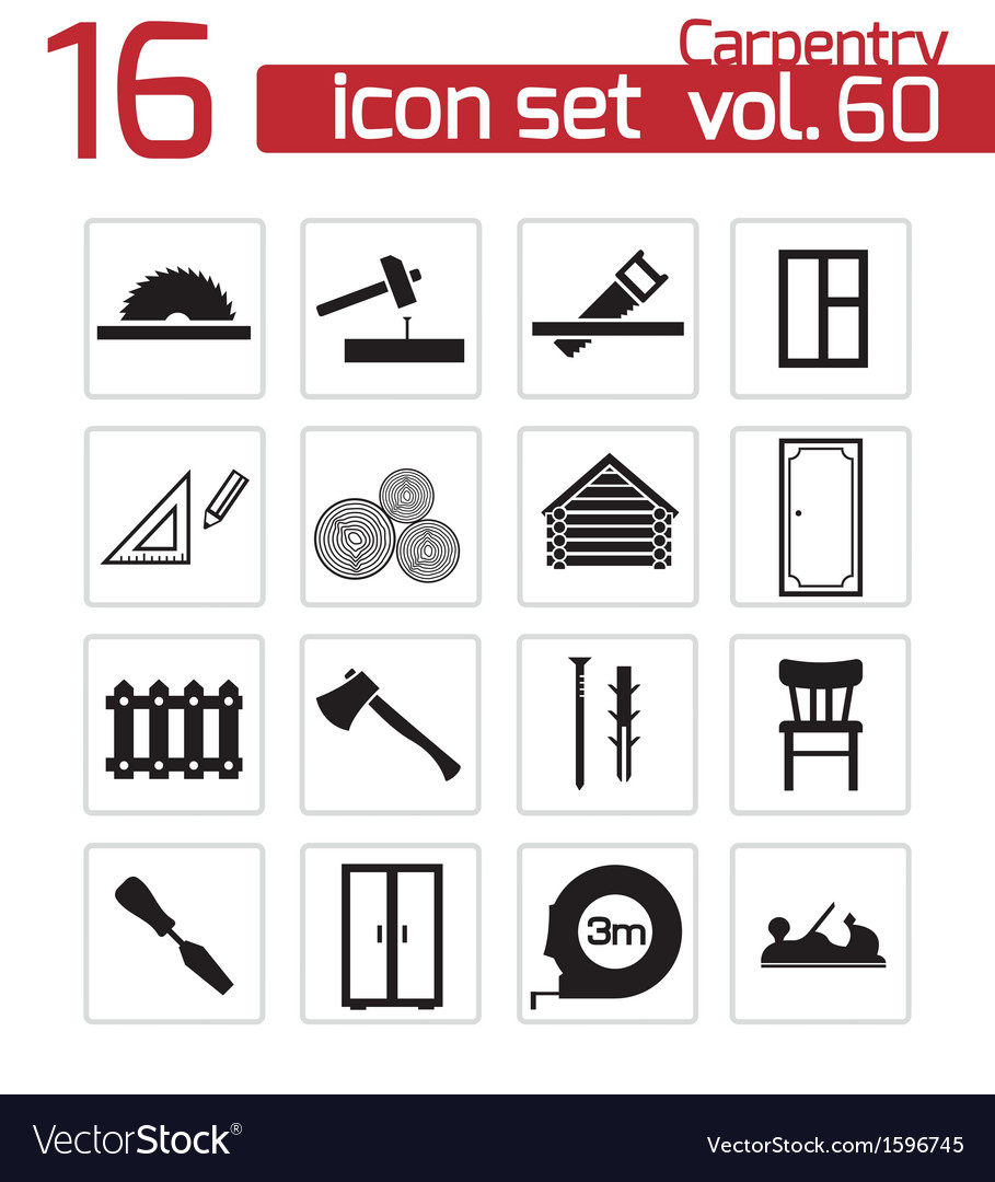 Black carpentry icons set