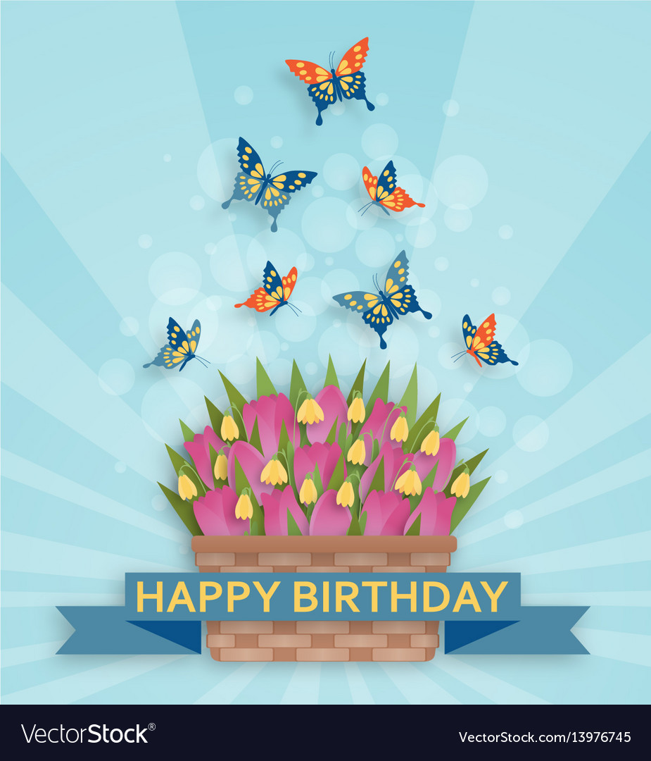 Cute happy birthday background with tulips and
