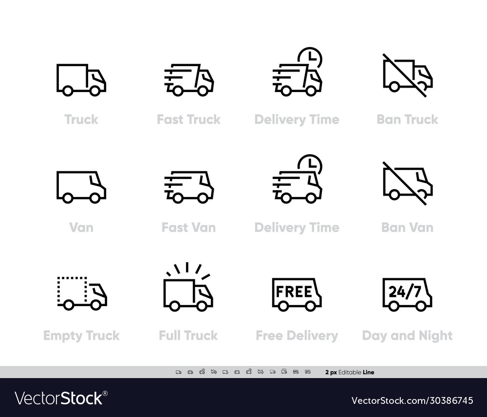 Delivery truck icons set fast truck minibus van