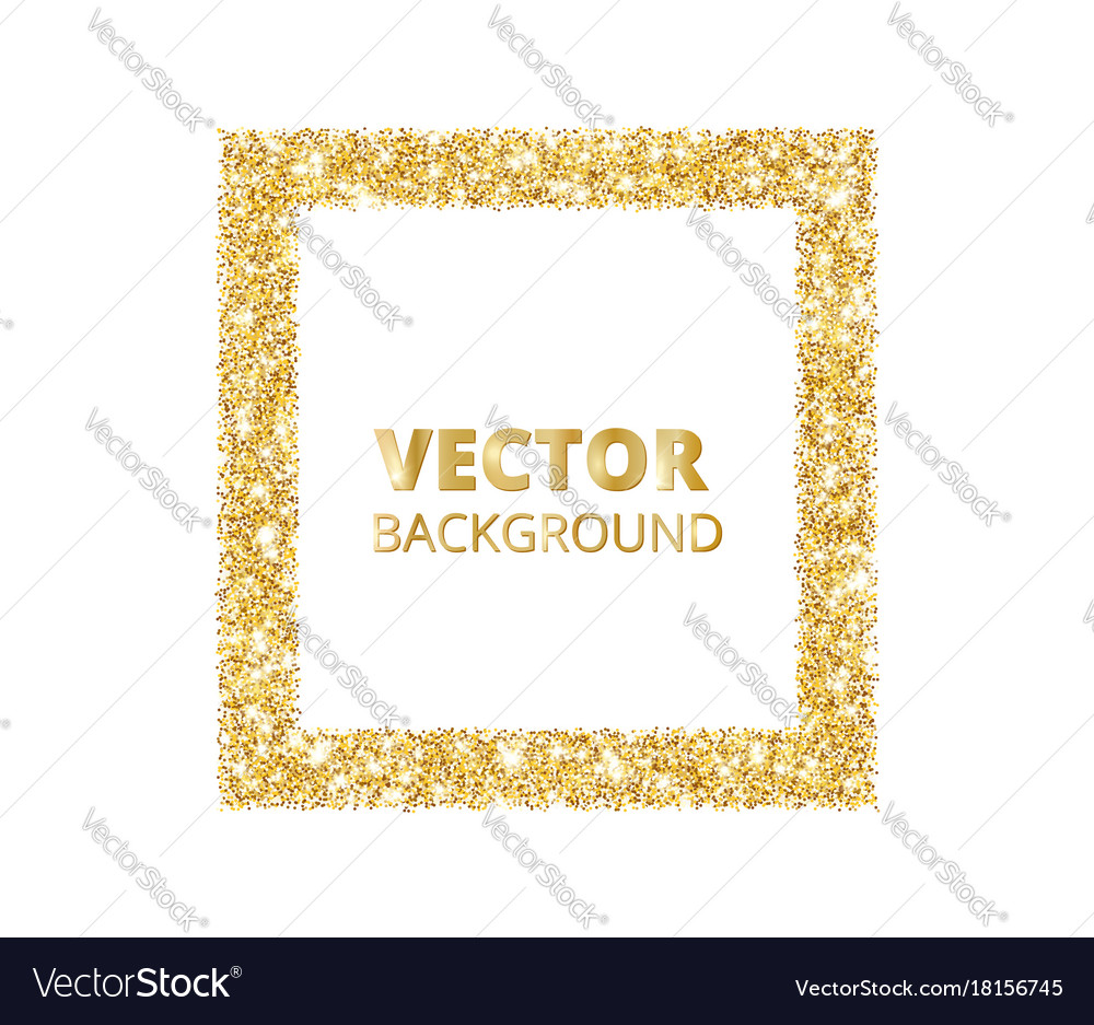 Festive golden sparkle background glitter border