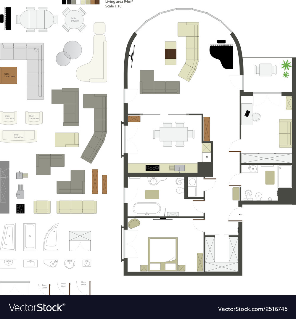 Flat projection furniture Set vector image