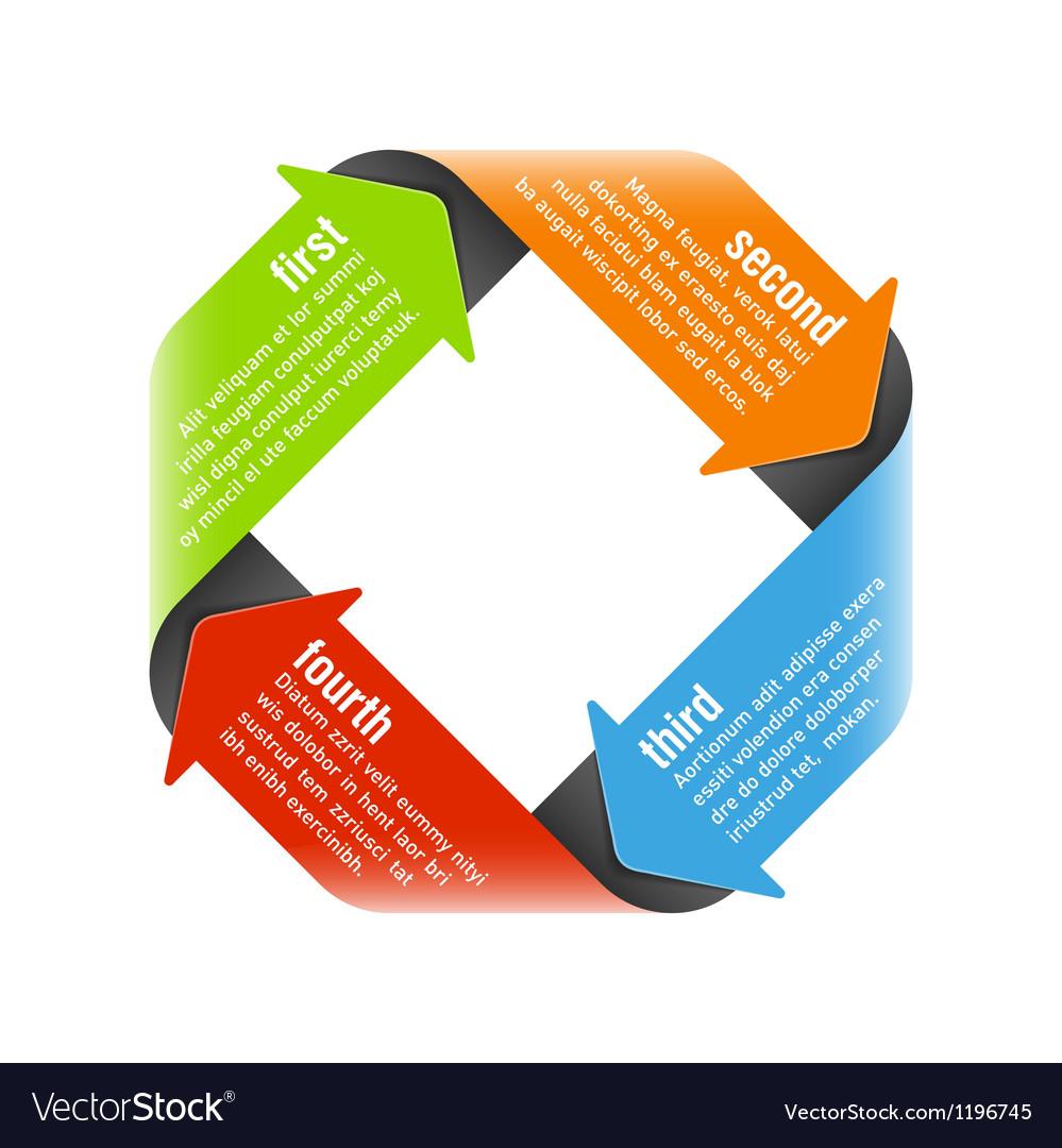 Four steps process arrows vector image