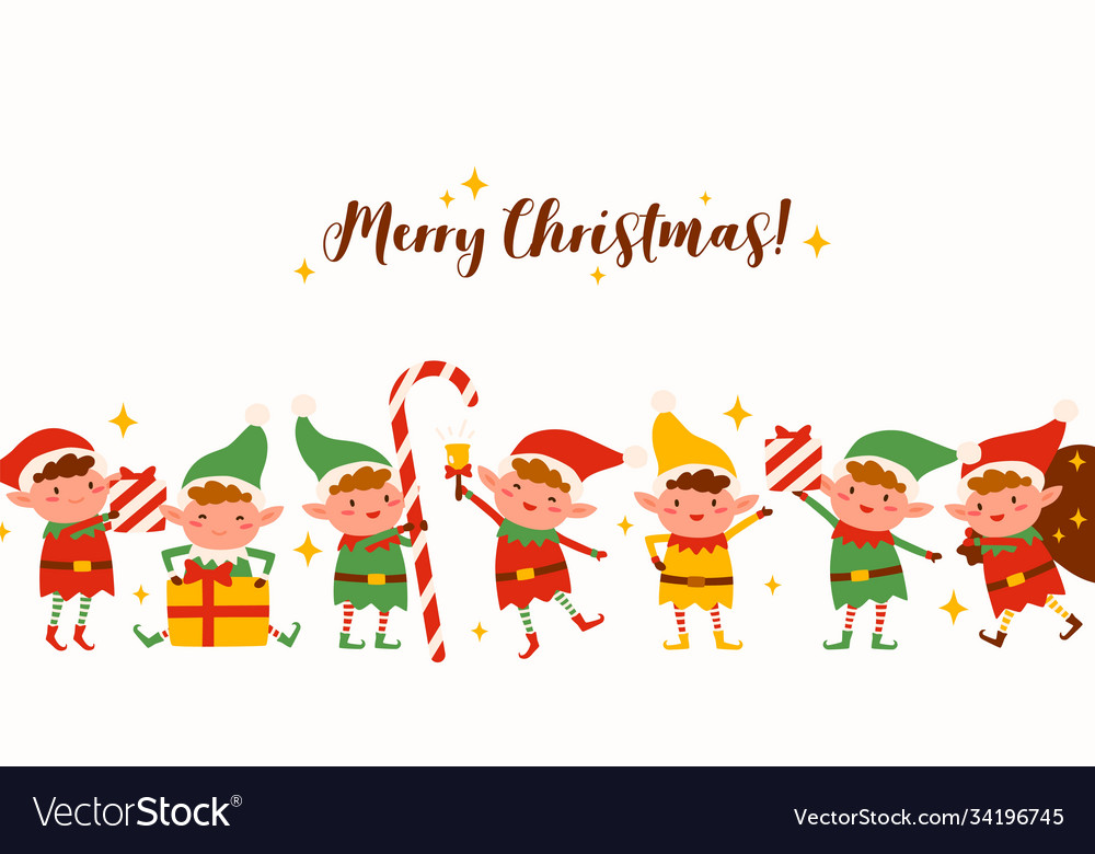 Group cute elves on merry christmas horizontal