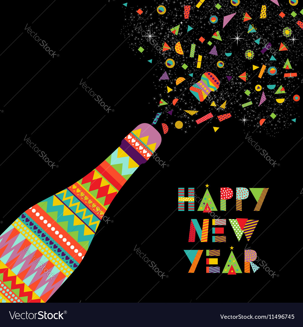 Happy new year fun design of party celebration vector image