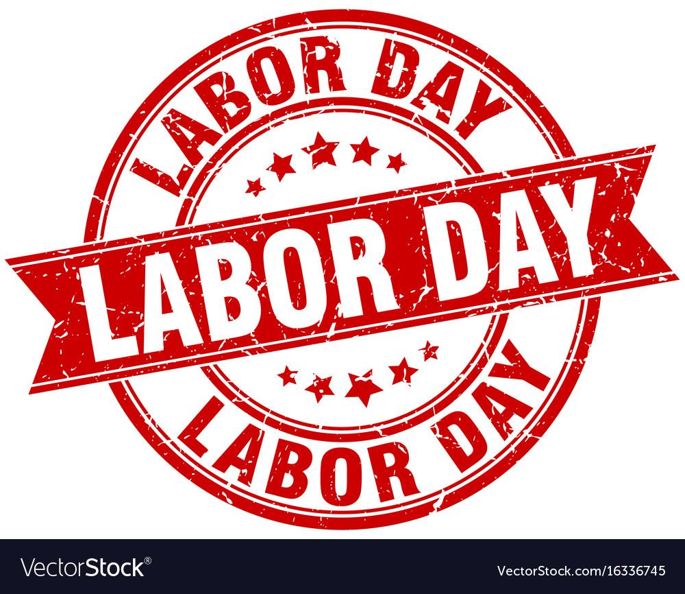 Labor day round grunge ribbon stamp vector image