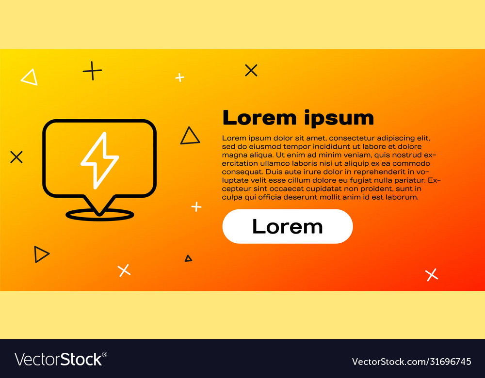 Line Lightning Bolt Icon Isolated On Yellow Vector Image