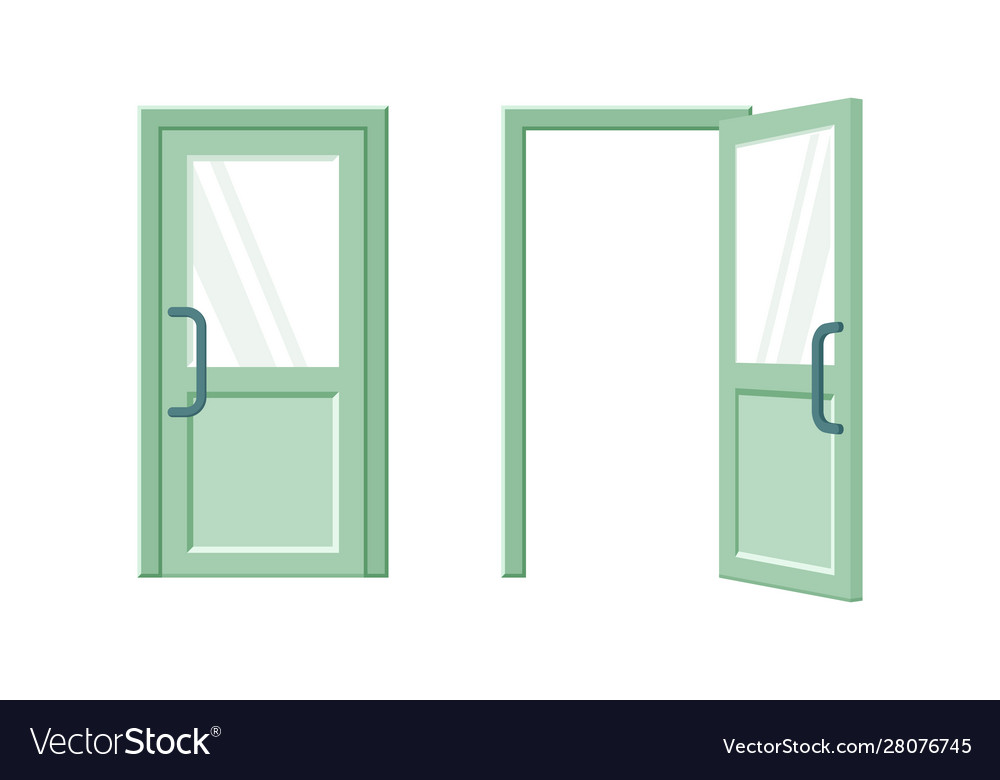 Open and closed green door flat