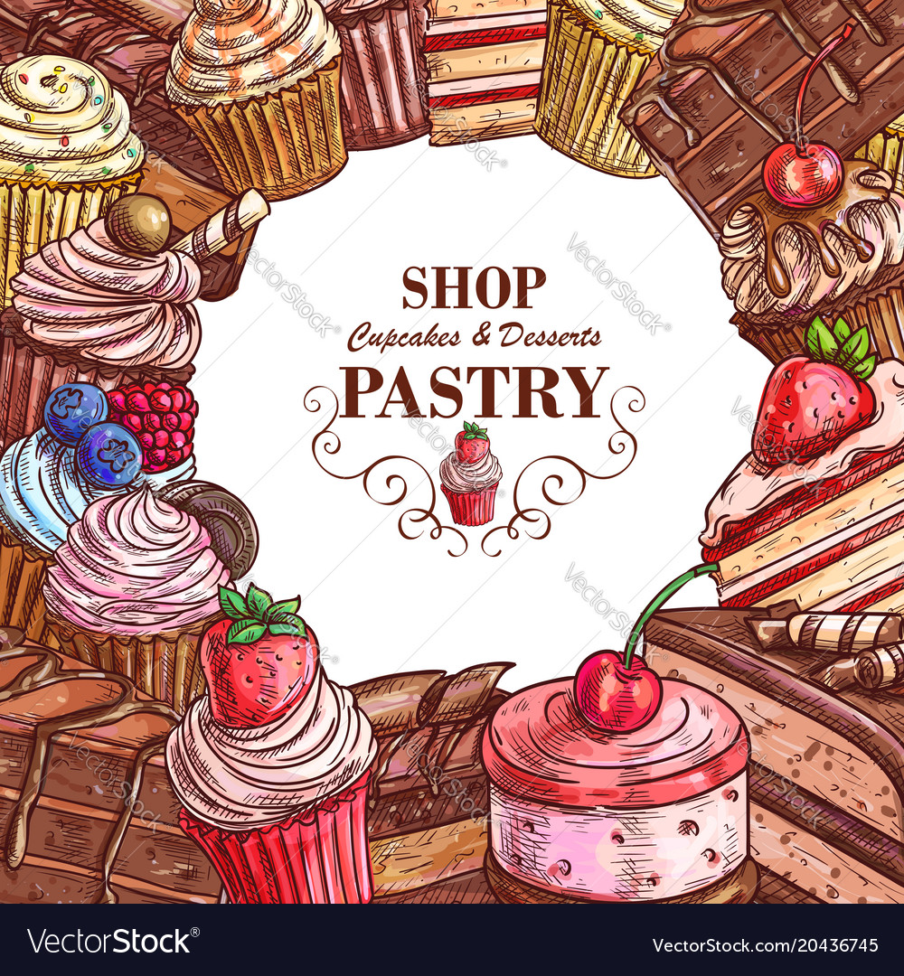 Pastry shop sketch desserts cakes poster
