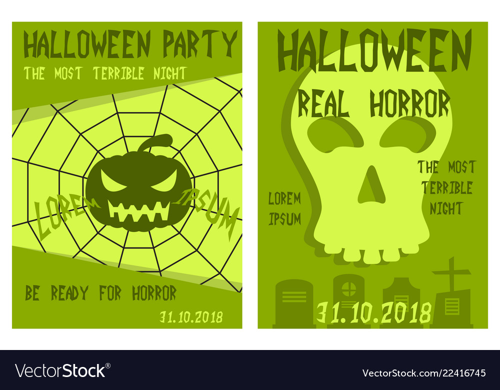 Set Of Flyers For Halloween Templates Of Posters Vector Image