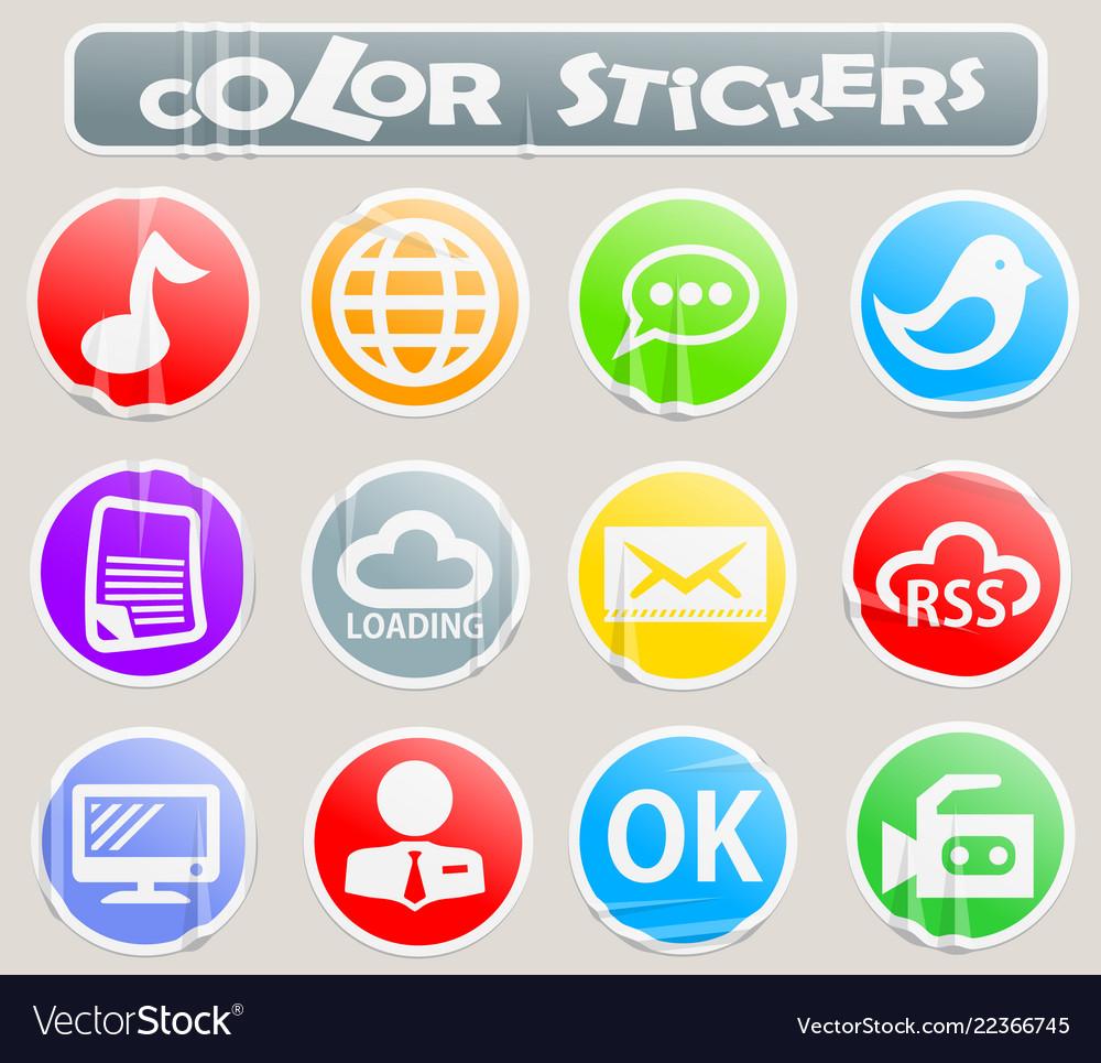 social media color stickers royalty free vector image