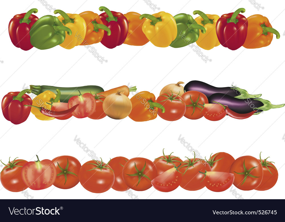 Three background of sweet vegetables vector image