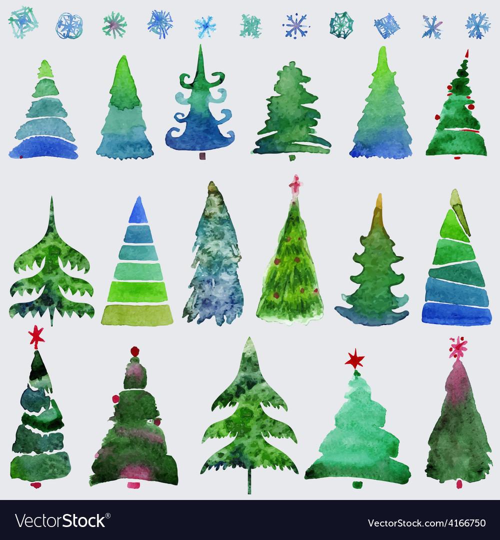 Christmas trees and snowflake set of holidays hand