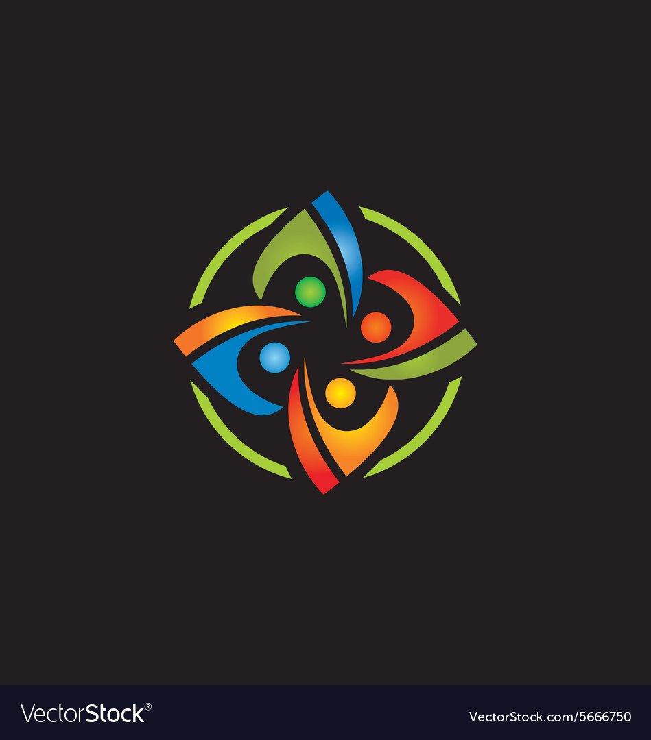 Circle colorful connection people logo