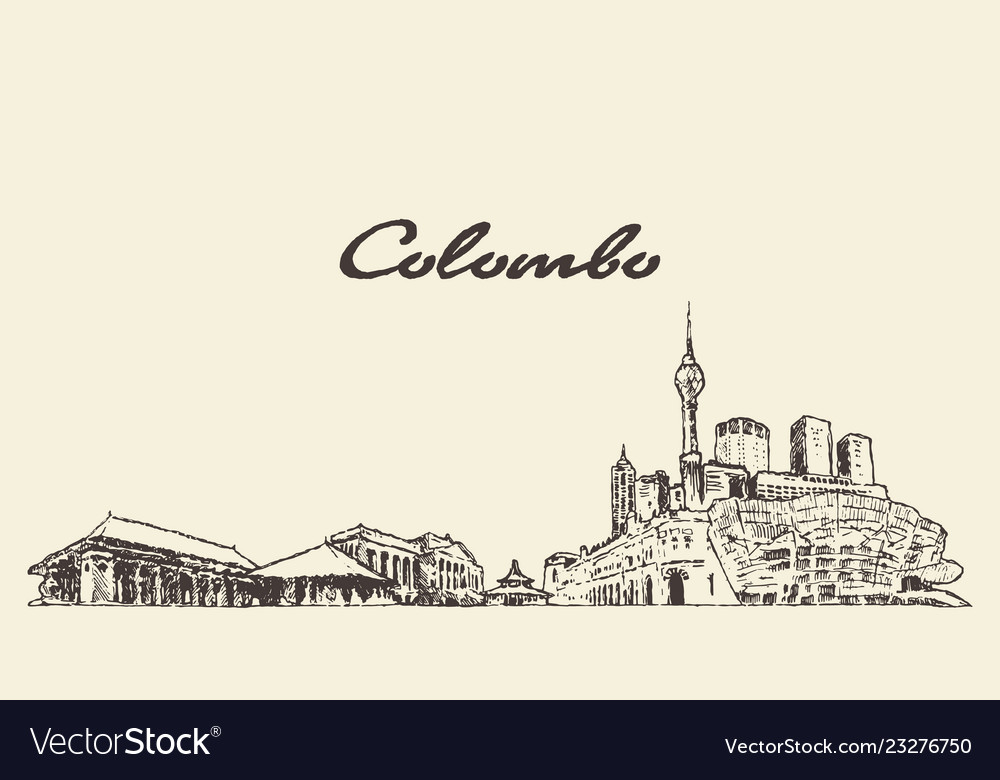 Colombo skyline shri lanka drawn sketch