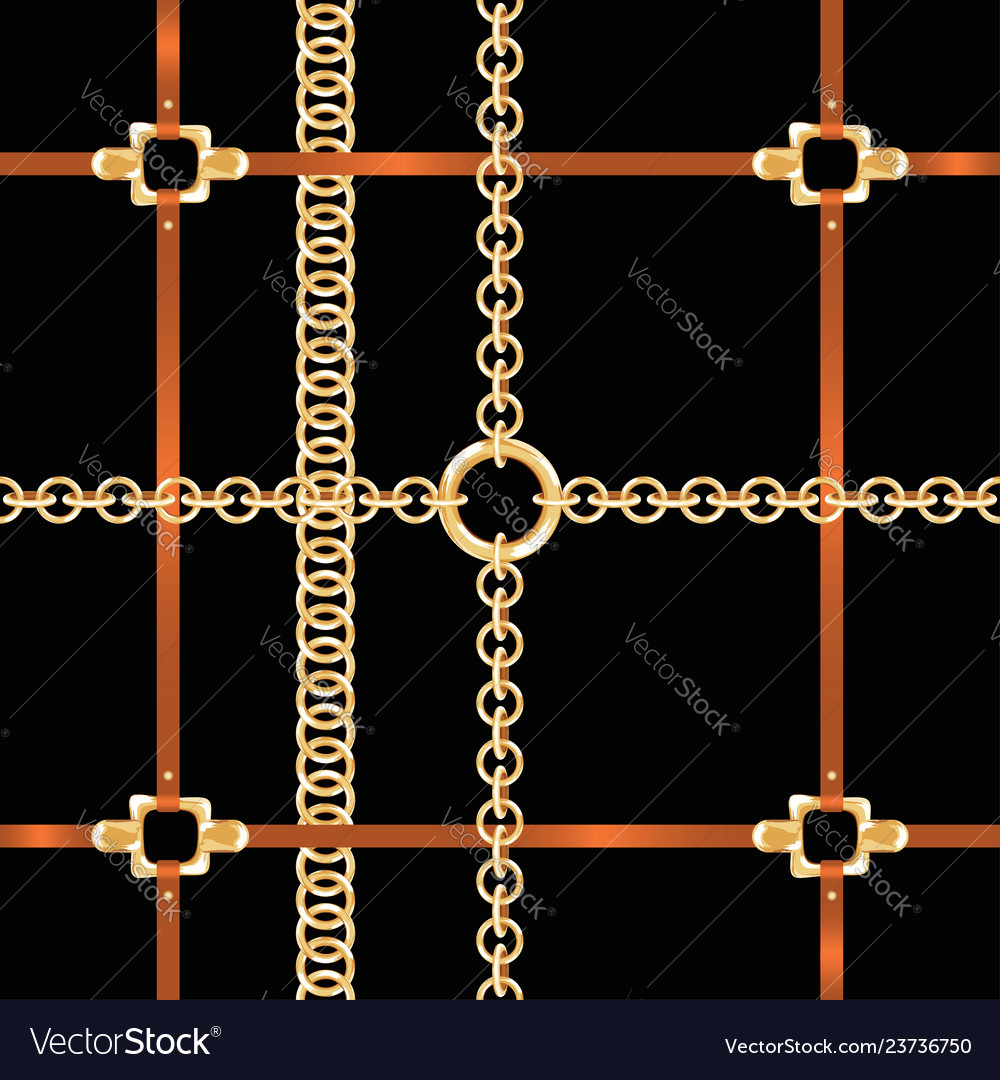 Golden chains and belts seamless pattern baroque